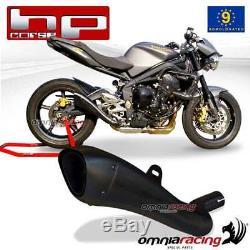 Exhaust Pot HP Corsica Hydroform Black Approved Triumph Street Triple 072012