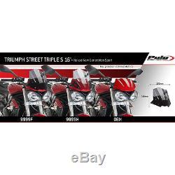 Triumph Street Triple 765 S 2016 Bulle Puig Noir Sport Naked Saute Vent